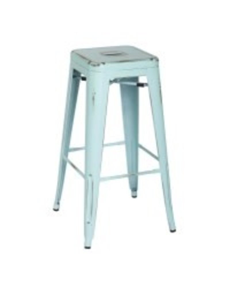 Metropolis Metal Backless Bar Stool--Distressed Aqua
