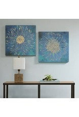 Iridescent Bloom Gel Coated Canvas with Gold Foil--set/2