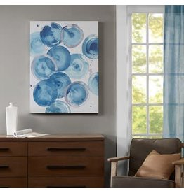 Cerulean Circles Blue Heavy Rolled Gel Coat Canvas