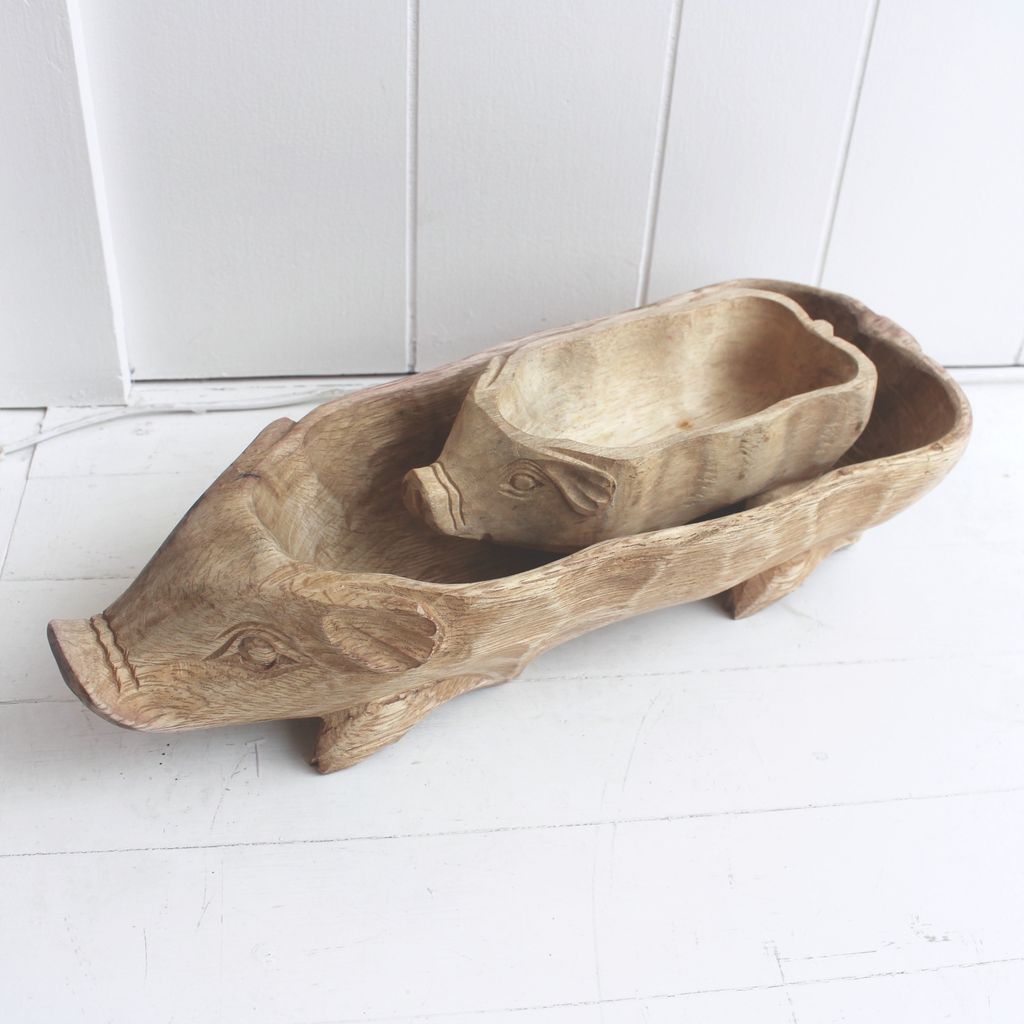 Wood Pig Bowl Mini