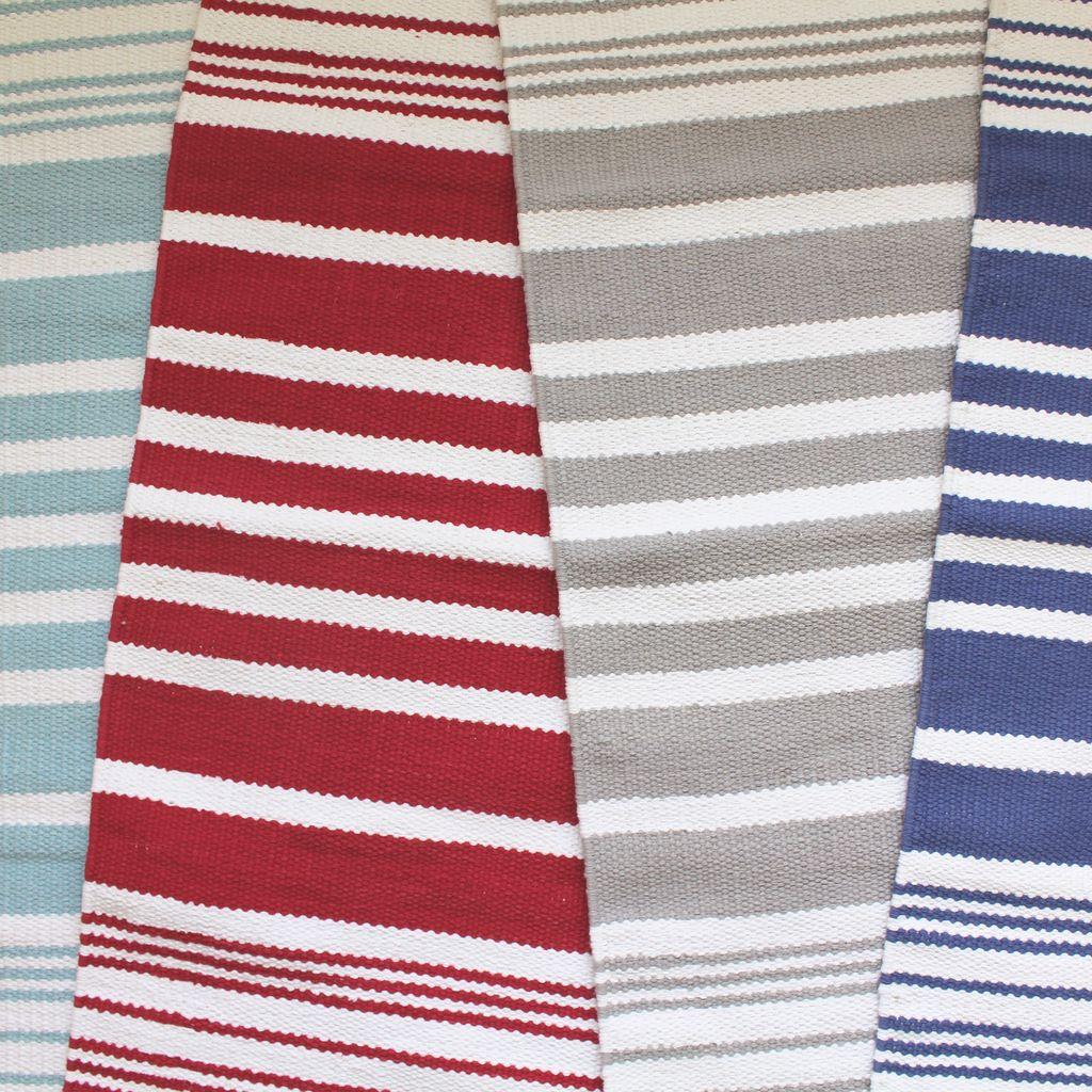 Harbor Red Stripe Cotton Rug