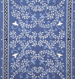 Singing Vine Blue Wool Hooked Rug