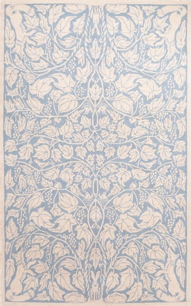 Fox & Vine Blue Wool Hooked Rug