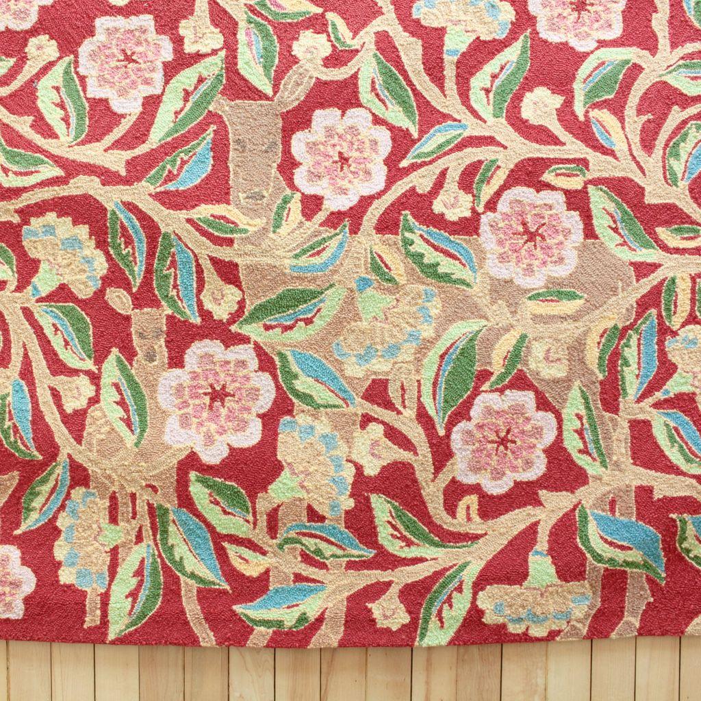 Garden Deer Red Wool Hooked Rug