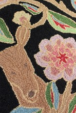 Garden Deer Black Wool Hooked Rug