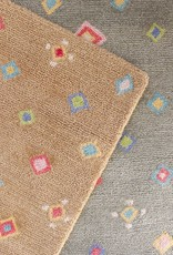 Diamond Tan Wool Hooked Rug