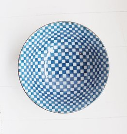 Bowl - Blue Checker