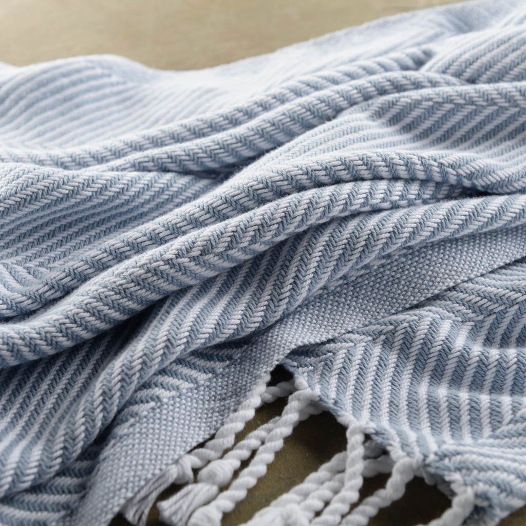 Throw - Misty Blue Herringbone