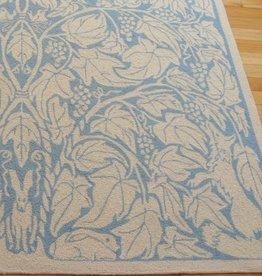 Fox & Vine Blue Wool Hooked Rug