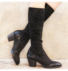 Elena Iachi ElenaIachi Black Suede Stretch Knee Boot 1646