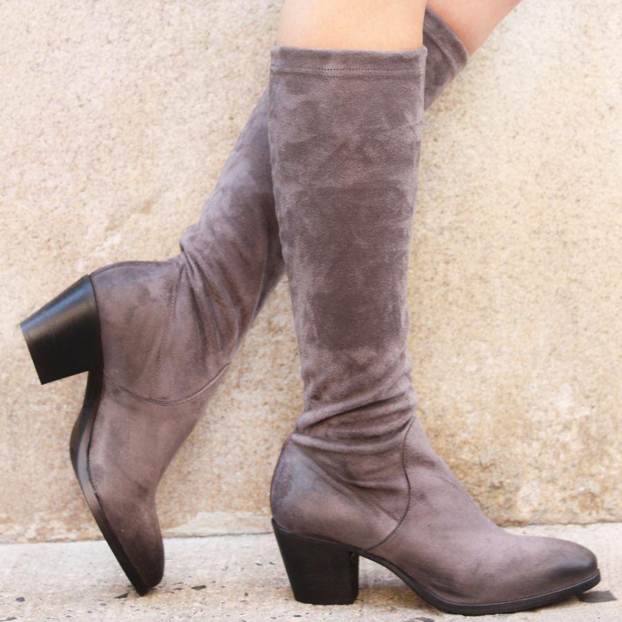 Elena Iachi ElenaIachi Grey Suede Stretch Knee Boot 1646