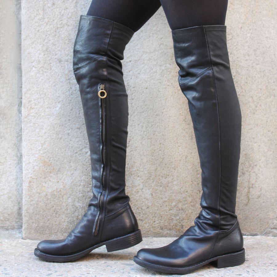 Fiorentini+Baker Fiorentini Black Leather /Stretch Over The Knee Evita