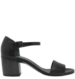 Del Carlo DelCarlo Black Buckled Block Heel Sandal 5060