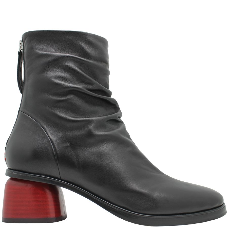 Halmanera Halmanera Black Back Zipper Boot Red Heel Abid