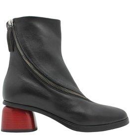 Halmanera Halmanera Black Asym Ankle Boot Red Heel Ada