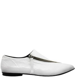 Halmanera Halmanera White Patent Flat With Asym Zipper Logan