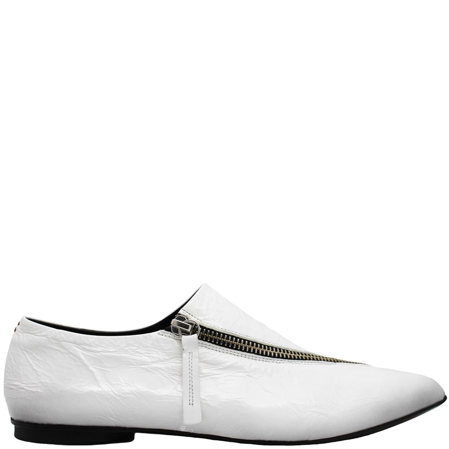 Halmanera Halmanera White Patent Flat With Asym Zipper Logan