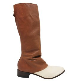 Moma Moma Off White Camel Ruched Mid-Calf Boot with Back Zipper 8575