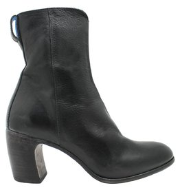 Moma Moma Black Mid-Calf Boot With Front Patent Panel 8578
