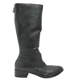 Moma Moma Black Ruched Mid-Calf Boot with Back Zipper 8575
