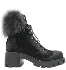 Now Now Black Suede Lace-Up Black Fur Collar 5125