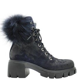 Now Now Blue Suede Lace-Up Blue Fur Collar 5125