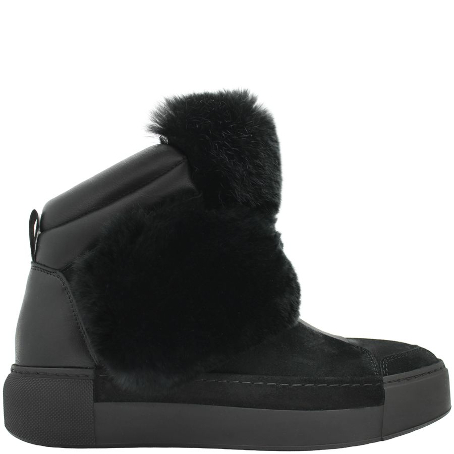 VicMatie VicMatie Black Suede Ankle Boot With Fur 6708