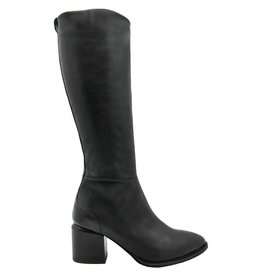 VicMatie VicMatie Black Fitted Knee Boot With Medium Stacked Heel 6802