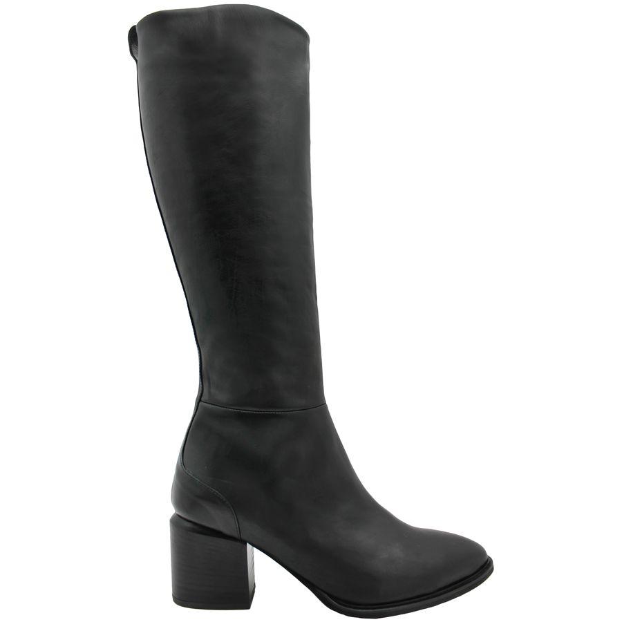 VicMatie VicMatie Black Fitted Knee Boot With Medium Stacked Heel 6802