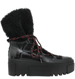 VicMatie VicMatie Black Patent Shearling Hiker Boot with Laces 6880