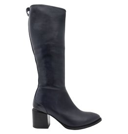 VicMatie VicMatie Navy Fitted Knee Boot With Medium Stacked Heel 6802