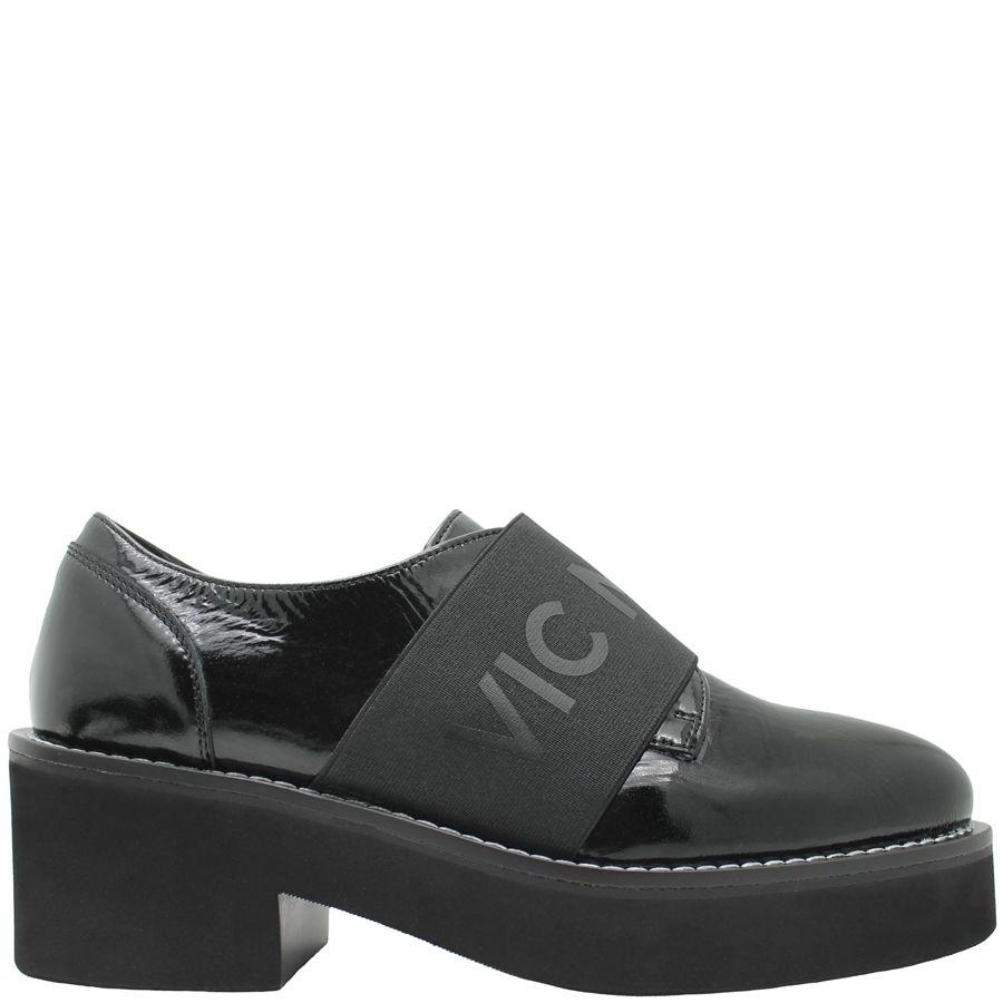 VicMatie VicMatie Black Patent Shoe W/Elastic Band Rubber Sole 7009