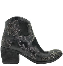 FauzianJeunesse FauzianJeunesse Black Ankle Boot With Silver Chain Embroidery 3465