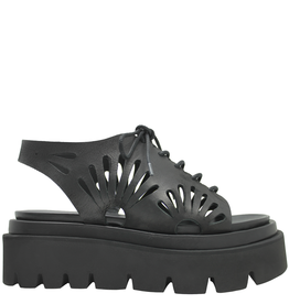Strategia Strategia Black Lace-Up Flatform Sandal 4101
