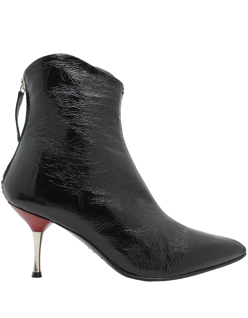 Halmanera Halmanera Black Patent Boot/ Red With Metal Heel Back Zipper 1996