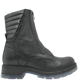 Now Now Black Front Zipper Flat Hiker Boot With Clear Tread Sole 5827
