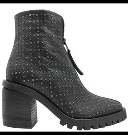Now Now Black Front Zipper/Side Zipper Small Stud Hiker Boots 5927