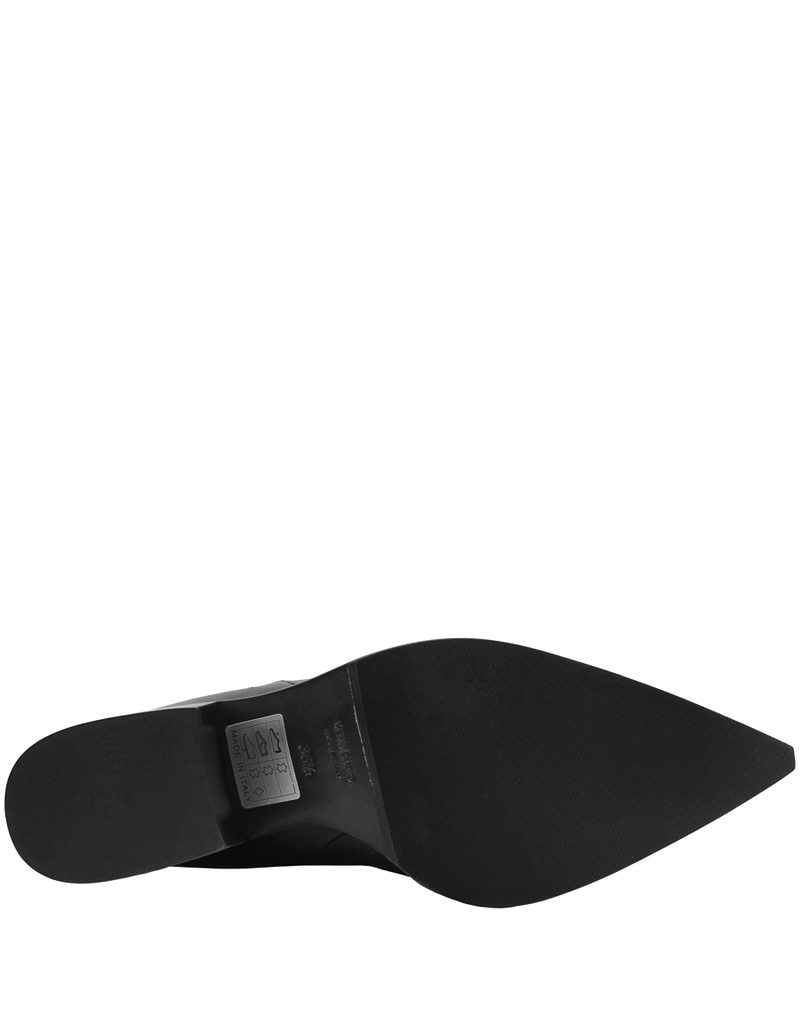 Now Now Black Point Toe 3 Zipper Low Heel Boot 5911