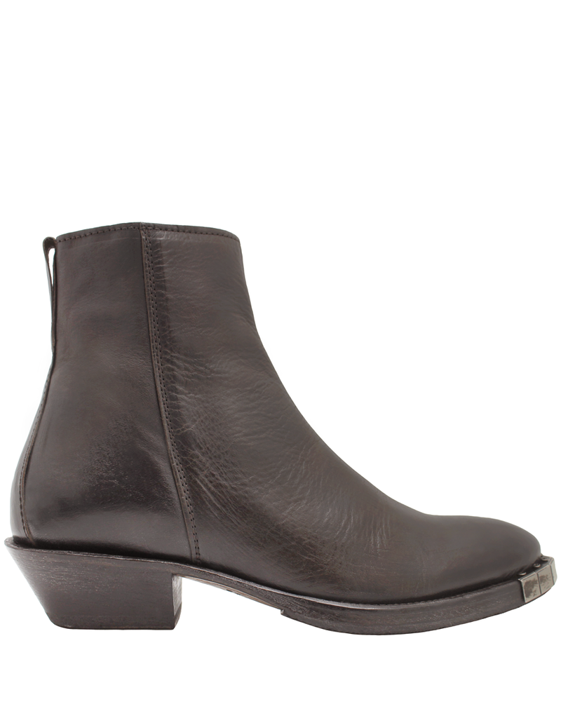 Moma Moma Brown Point Toe Ankle Boot With Metal Tip Detail 9084