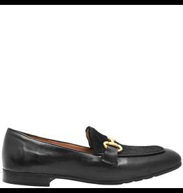 MaraBini MaraBini Black Nappa Loafer With Hair Calf Plug Metal Bit 7394