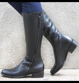 Elena Iachi ElenaIachi Black Outside Zipper Flat Knee Boot 1739