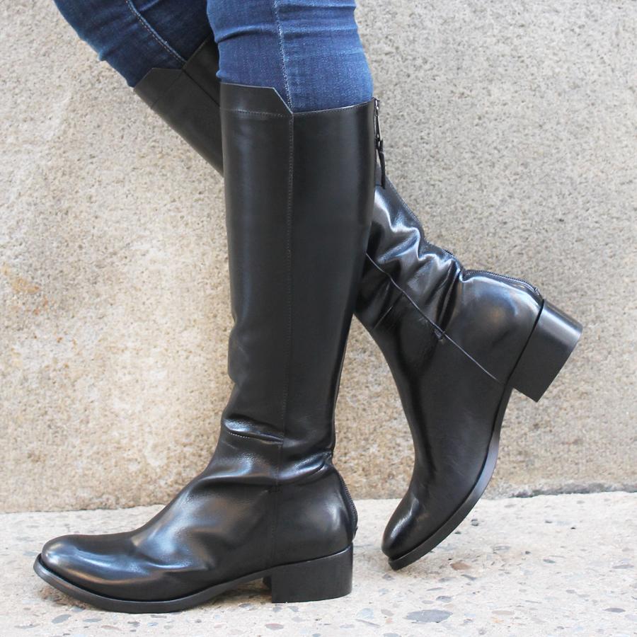 ElenaIachi Black Flat Knee Boot With