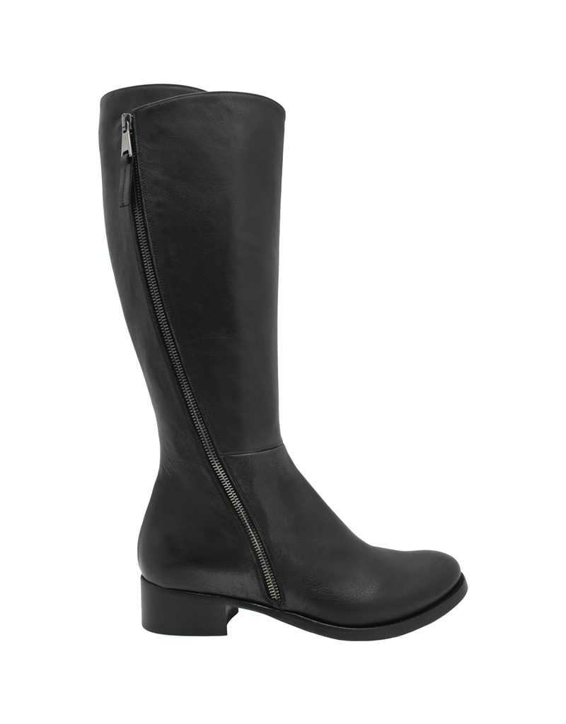 Elena Iachi ElenaIachi Black Outside Zipper Flat Knee Boot 1739