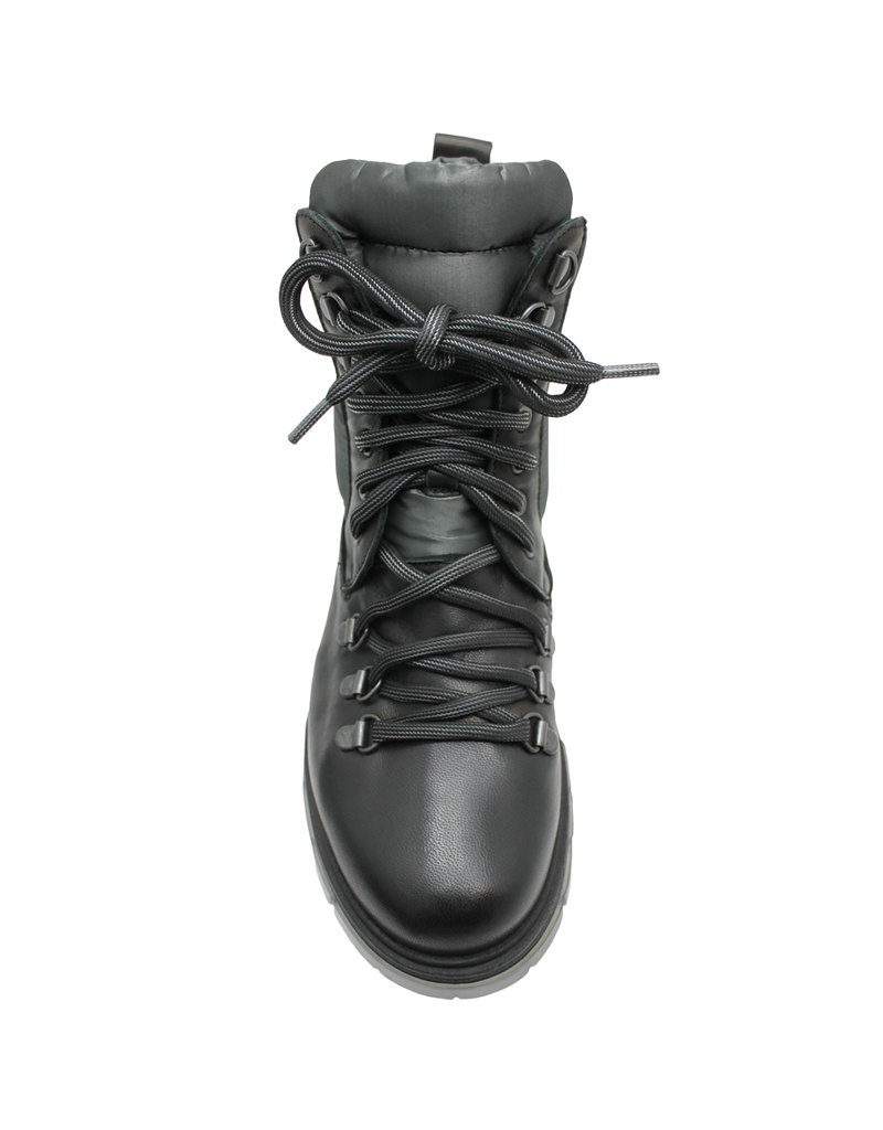 Now Now Black Lace-Up Hiker Boot With Grey Quilt Detail 5831