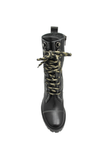 Now Now Black Mid-Calf Beige Lace-Up Boot 5923