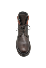 Moma Moma Brown Lace-Up Ankle Boot With Snaps 9087
