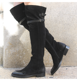 Now Now Black Suede 2 Buckle Over The Knee Inside Zipper 6002