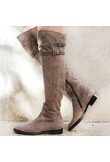 Now Now Taupe Suede 2 Buckle Over The Knee Inside Zipper 6002