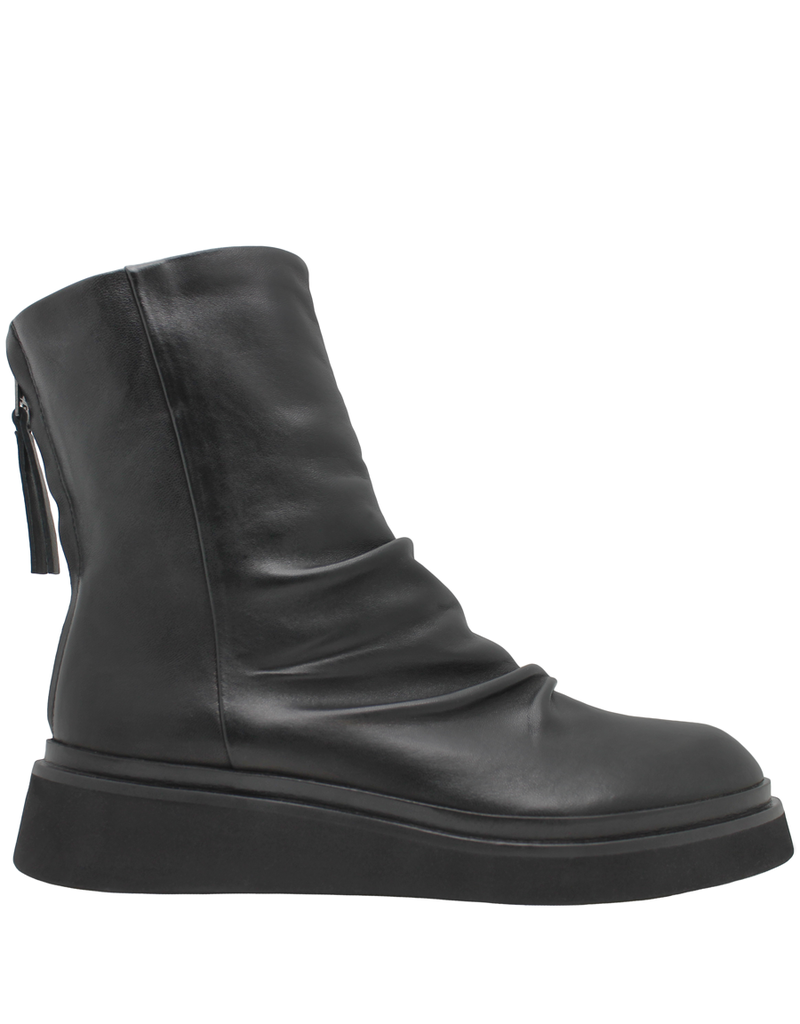 Now Now Black Ruched Crepe Sole Boot With Back Zipper 5684