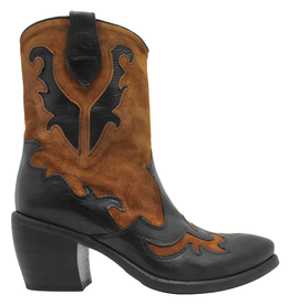 Now Now Black With Tan Suede Cowboy Ankle Boot 6015